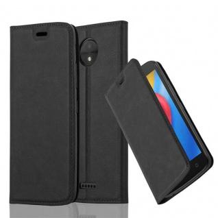 Cadorabo Hülle für Motorola MOTO C in NACHT SCHWARZ - Handyhülle mit Magnetverschluss, Standfunktion und Kartenfach - Case Cover Schutzhülle Etui Tasche Book Klapp Style