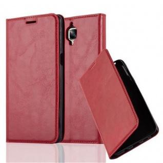 Cadorabo Hülle für OnePlus 3 / 3T in APFEL ROT Handyhülle mit Magnetverschluss, Standfunktion und Kartenfach Case Cover Schutzhülle Etui Tasche Book Klapp Style