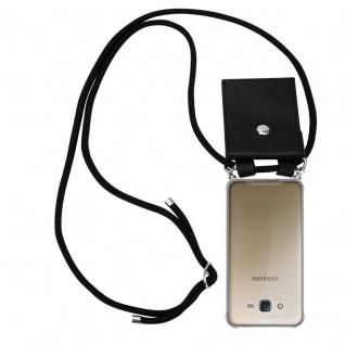 Cadorabo Handy Kette für Samsung Galaxy J7 2015 in SCHWARZ - Silikon Necklace Umhänge Hülle mit Silber Ringen, Kordel Band Schnur und abnehmbarem Etui - Schutzhülle