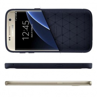 Cadorabo Hülle für Samsung Galaxy S7 - Hülle in BRUSHED BLAU - Handyhülle aus TPU Silikon in Edelstahl-Karbonfaser Optik - Silikonhülle Schutzhülle Ultra Slim Soft Back Cover Case Bumper - Vorschau 4