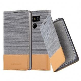 Cadorabo Hülle für LG G6 in HELL GRAU BRAUN - Handyhülle mit Magnetverschluss, Standfunktion und Kartenfach - Case Cover Schutzhülle Etui Tasche Book Klapp Style
