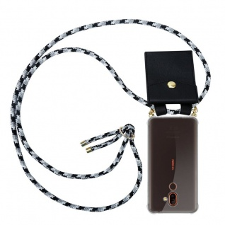 Cadorabo Handy Kette für Nokia 7 PLUS in SCHWARZ CAMOUFLAGE Silikon Necklace Umhänge Hülle mit Gold Ringen, Kordel Band Schnur und abnehmbarem Etui Schutzhülle