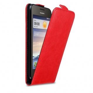 Cadorabo Hülle für Huawei Y330 in APFEL ROT - Handyhülle im Flip Design mit Magnetverschluss - Case Cover Schutzhülle Etui Tasche Book Klapp Style