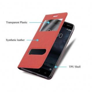 Cadorabo Hülle für Nokia 5 2017 in SAFRAN ROT - Handyhülle mit Magnetverschluss, Standfunktion und 2 Sichtfenstern - Case Cover Schutzhülle Etui Tasche Book Klapp Style - Vorschau 3
