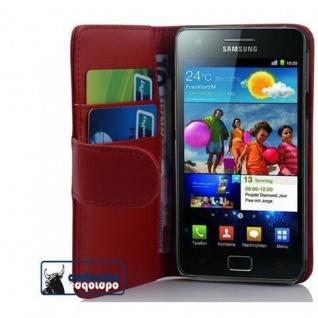 Cadorabo Hülle für Samsung Galaxy S2 / S2 PLUS in CHILI ROT - Handyhülle aus glattem Kunstleder mit Standfunktion und Kartenfach - Case Cover Schutzhülle Etui Tasche Book Klapp Style