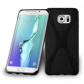Cadorabo Hülle für Samsung Galaxy S6 EDGE PLUS - Hülle in OXID SCHWARZ ? Handyhülle aus flexiblem TPU Silikon im X-Line Design - Ultra Slim Soft Backcover Case Bumper