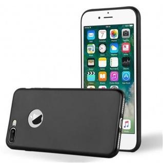 Cadorabo Hülle für Apple iPhone 8 PLUS / iPhone 7 PLUS / iPhone 7S PLUS in METALLIC SCHWARZ Handyhülle aus flexiblem TPU Silikon Silikonhülle Schutzhülle Ultra Slim Soft Back Cover Case Bumper