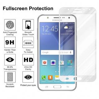 Cadorabo Vollbild Panzer Folie für Samsung Galaxy J7 2015 - Schutzfolie in TRANSPARENT mit WEISS - Gehärtetes (Tempered) Display-Schutzglas in 9H Härte mit 3D Touch Kompatibilität - Vorschau 4