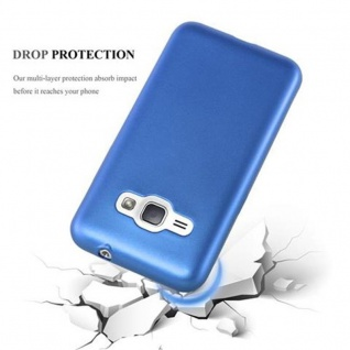 Cadorabo Hülle für Samsung Galaxy J1 2015 in METALLIC BLAU - Handyhülle aus flexiblem TPU Silikon - Silikonhülle Schutzhülle Ultra Slim Soft Back Cover Case Bumper - Vorschau 4