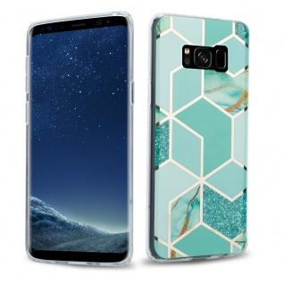 Cadorabo Hülle für Samsung Galaxy S8 Hülle in Grün hellgrün gold Marmor No.3 Handyhülle aus TPU Silikon mit Muster Mosaik Silikonhülle Schutzhülle Ultra Slim Back Cover Case Bumper