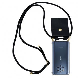 Cadorabo Handy Kette für Nokia 10 in SCHWARZ Silikon Necklace Umhänge Hülle mit Gold Ringen, Kordel Band Schnur und abnehmbarem Etui Schutzhülle