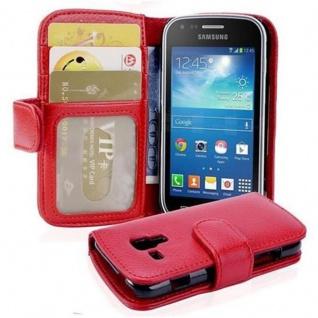 Cadorabo Hülle für Samsung Galaxy TREND PLUS in INFERNO ROT ? Handyhülle mit Magnetverschluss und 3 Kartenfächern ? Case Cover Schutzhülle Etui Tasche Book Klapp Style