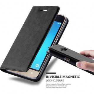Cadorabo Hülle für Samsung Galaxy J1 2016 in NACHT SCHWARZ - Handyhülle mit Magnetverschluss, Standfunktion und Kartenfach - Case Cover Schutzhülle Etui Tasche Book Klapp Style