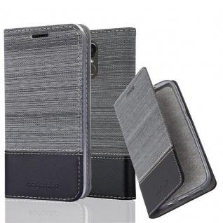 Cadorabo Hülle für LG STYLUS 3 in GRAU SCHWARZ - Handyhülle mit Magnetverschluss, Standfunktion und Kartenfach - Case Cover Schutzhülle Etui Tasche Book Klapp Style