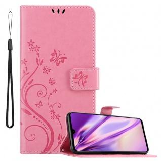 Cadorabo Hülle für Huawei MATE 20 in FLORAL ROSA Handyhülle im Blumen Design mit Magnetverschluss, Standfunktion und 3 Kartenfächern Case Cover Schutzhülle Etui Tasche