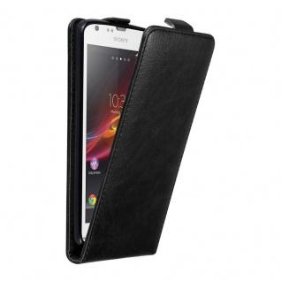 Cadorabo Hülle für Sony Xperia SP in NACHT SCHWARZ - Handyhülle im Flip Design mit unsichtbarem Magnetverschluss - Case Cover Schutzhülle Etui Tasche Book Klapp Style