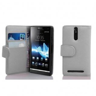 Cadorabo Hülle für Sony Xperia S in MAGNESIUM WEIß - Handyhülle aus strukturiertem Kunstleder mit Standfunktion und Kartenfach - Case Cover Schutzhülle Etui Tasche Book Klapp Style