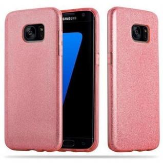 Cadorabo Hülle für Samsung Galaxy S7 EDGE - Hülle in STERNENSTAUB PINK - TPU Silikon und Hardcase Handyhülle im Glitzer Design - Hard Case TPU Silikon Schutzhülle