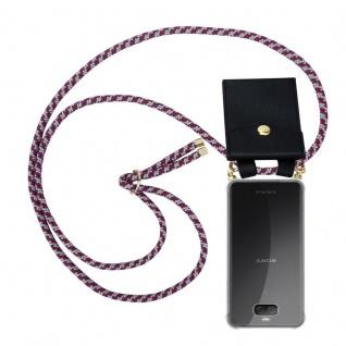 Cadorabo Handy Kette für Sony Xperia 10 in ROT WEISS - Silikon Necklace Umhänge Hülle mit Gold Ringen, Kordel Band Schnur und abnehmbarem Etui ? Schutzhülle