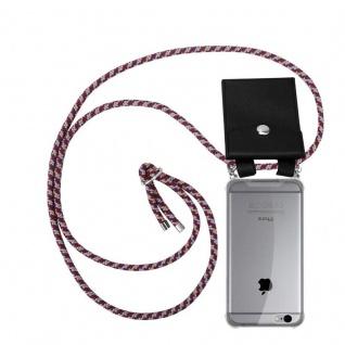 Cadorabo Handy Kette für Apple iPhone 6 PLUS / iPhone 6S PLUS in ROT GELB WEISS - Silikon Necklace Umhänge Hülle mit Silber Ringen, Kordel Band Schnur und abnehmbarem Etui - Schutzhülle