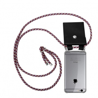 Cadorabo Handy Kette für Apple iPhone 6 PLUS / iPhone 6S PLUS in ROT GELB WEISS Silikon Necklace Umhänge Hülle mit Silber Ringen, Kordel Band Schnur und abnehmbarem Etui Schutzhülle