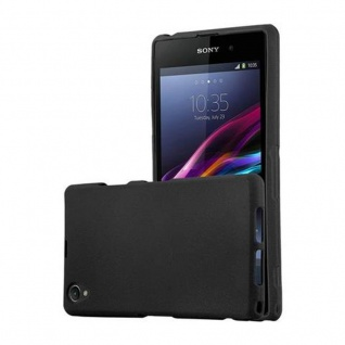 Cadorabo Hülle für Sony Xperia Z1 COMPACT - Hülle in FROST SCHWARZ ? Handyhülle aus TPU Silikon im matten Frosted Design - Ultra Slim Soft Backcover Case Bumper