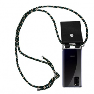 Cadorabo Handy Kette für Honor View 30 in CAMOUFLAGE Silikon Necklace Umhänge Hülle mit Silber Ringen, Kordel Band Schnur und abnehmbarem Etui Schutzhülle