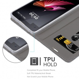 Cadorabo Hülle für LG X SCREEN in HELL GRAU BRAUN - Handyhülle mit Magnetverschluss, Standfunktion und Kartenfach - Case Cover Schutzhülle Etui Tasche Book Klapp Style