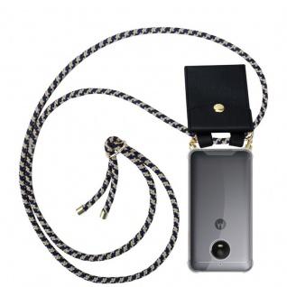 Cadorabo Handy Kette für Motorola MOTO E4 in DUNKELBLAU GELB - Silikon Necklace Umhänge Hülle mit Gold Ringen, Kordel Band Schnur und abnehmbarem Etui ? Schutzhülle