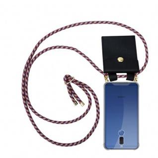 Cadorabo Handy Kette für Huawei MATE 10 LITE in ROT GELB WEISS - Silikon Necklace Umhänge Hülle mit Gold Ringen, Kordel Band Schnur und abnehmbarem Etui ? Schutzhülle