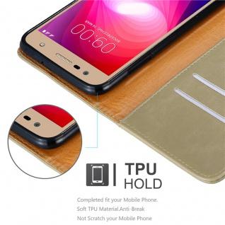 Cadorabo Hülle für LG X Power 2 in CAPPUCCINO BRAUN - Handyhülle mit Magnetverschluss, Standfunktion und Kartenfach - Case Cover Schutzhülle Etui Tasche Book Klapp Style - Vorschau 3