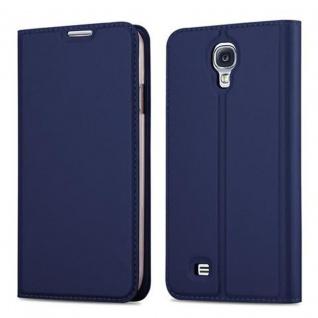 Cadorabo Hülle für Samsung Galaxy S4 in CLASSY DUNKEL BLAU - Handyhülle mit Magnetverschluss, Standfunktion und Kartenfach - Case Cover Schutzhülle Etui Tasche Book Klapp Style