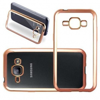 Cadorabo Hülle für Samsung Galaxy J1 2015 (5) - Hülle in TRANSPARENT mit CHROM GOLD - Handyhülle aus TPU Silikon im Chrom Design - Silikonhülle Schutzhülle Ultra Slim Soft Back Cover Case Bumper