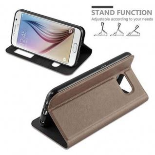 Cadorabo Hülle für Samsung Galaxy S6 in STEIN BRAUN - Handyhülle mit Magnetverschluss, Standfunktion und 2 Sichtfenstern - Case Cover Schutzhülle Etui Tasche Book Klapp Style - Vorschau 4