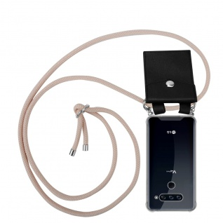 Cadorabo Handy Kette für LG V40 in PERLIG ROSÉGOLD Silikon Necklace Umhänge Hülle mit Silber Ringen, Kordel Band Schnur und abnehmbarem Etui Schutzhülle