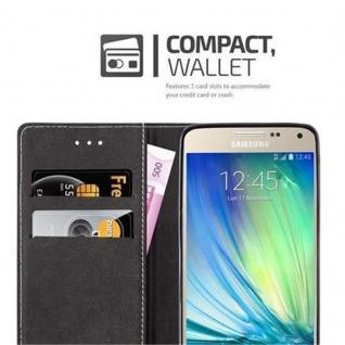 Cadorabo Hülle für Samsung Galaxy A5 2015 in DUNKEL BLAU BRAUN - Handyhülle mit Magnetverschluss, Standfunktion und Kartenfach - Case Cover Schutzhülle Etui Tasche Book Klapp Style - Vorschau 3