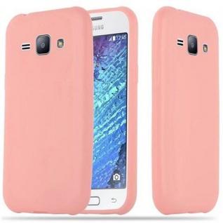Cadorabo Hülle für Samsung Galaxy J1 2015 in CANDY ROSA - Handyhülle aus flexiblem TPU Silikon - Silikonhülle Schutzhülle Ultra Slim Soft Back Cover Case Bumper