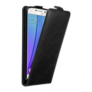 Cadorabo Hülle für Samsung Galaxy NOTE 5 in NACHT SCHWARZ Handyhülle im Flip Design mit unsichtbarem Magnetverschluss Case Cover Schutzhülle Etui Tasche Book Klapp Style