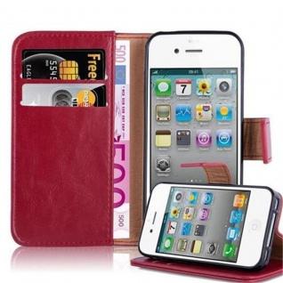 Cadorabo Hülle für Apple iPhone 4 / iPhone 4S in WEIN ROT ? Handyhülle mit Magnetverschluss, Standfunktion und Kartenfach ? Case Cover Schutzhülle Etui Tasche Book Klapp Style