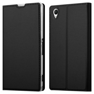 Cadorabo Hülle für Sony Xperia Z1 in CLASSY SCHWARZ - Handyhülle mit Magnetverschluss, Standfunktion und Kartenfach - Case Cover Schutzhülle Etui Tasche Book Klapp Style