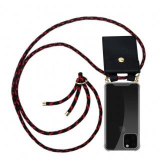 Cadorabo Handy Kette für Apple iPhone 11 PRO MAX (XI PRO MAX) in SCHWARZ ROT - Silikon Necklace Umhänge Hülle mit Gold Ringen, Kordel Band Schnur und abnehmbarem Etui - Schutzhülle - Vorschau 1