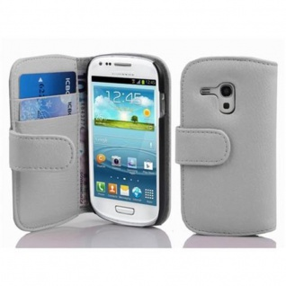 Cadorabo Hülle für Samsung Galaxy S3 MINI - Hülle in MAGNESIUM WEIß ? Handyhülle mit Kartenfach aus struktriertem Kunstleder - Case Cover Schutzhülle Etui Tasche Book Klapp Style