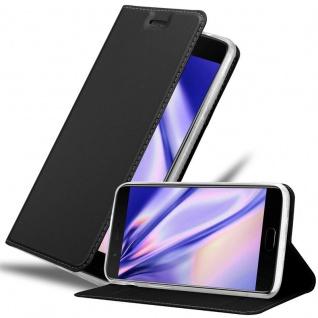 Cadorabo Hülle für OnePlus 5 in CLASSY SCHWARZ - Handyhülle mit Magnetverschluss, Standfunktion und Kartenfach - Case Cover Schutzhülle Etui Tasche Book Klapp Style