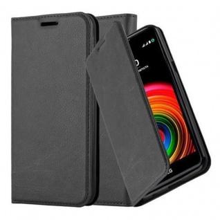 Cadorabo Hülle für LG X POWER in NACHT SCHWARZ - Handyhülle mit Magnetverschluss, Standfunktion und Kartenfach - Case Cover Schutzhülle Etui Tasche Book Klapp Style