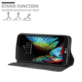 Cadorabo Hülle für LG K10 2016 in SCHWARZ BRAUN - Handyhülle mit Magnetverschluss, Standfunktion und Kartenfach - Case Cover Schutzhülle Etui Tasche Book Klapp Style - Vorschau 4