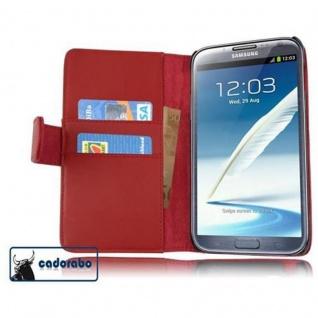 Cadorabo Hülle für Samsung Galaxy NOTE 2 in CHILI ROT - Handyhülle aus glattem Kunstleder mit Standfunktion und Kartenfach - Case Cover Schutzhülle Etui Tasche Book Klapp Style