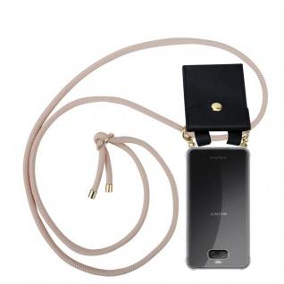 Cadorabo Handy Kette für Sony Xperia 10 in PERLIG ROSÉGOLD - Silikon Necklace Umhänge Hülle mit Gold Ringen, Kordel Band Schnur und abnehmbarem Etui ? Schutzhülle