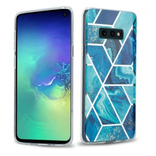 Cadorabo Hülle für Samsung Galaxy S10e Hülle in Blaue Welle Marmor No.13 Handyhülle aus TPU Silikon mit Muster Mosaik Silikonhülle Schutzhülle Ultra Slim Back Cover Case Bumper
