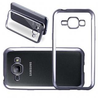 Cadorabo Hülle für Samsung Galaxy J1 2015 (5) - Hülle in TRANSPARENT mit CHROM SCHWARZ - Handyhülle aus TPU Silikon im Chrom Design - Silikonhülle Schutzhülle Ultra Slim Soft Back Cover Case Bumper