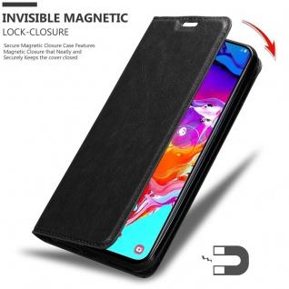 Cadorabo Hülle für Samsung Galaxy A70 in NACHT SCHWARZ - Handyhülle mit Magnetverschluss, Standfunktion und Kartenfach - Case Cover Schutzhülle Etui Tasche Book Klapp Style - Vorschau 3